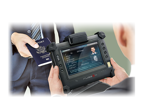 RuggON PM-311B rugged tablet with fingerprint reader, MRZ reader and multiple security functions.